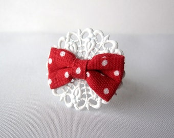 Handmade Polka Dot Bow on White Adjustable Doily Filigree Ring - Handmade Statement Ring - 4th of July - Summer