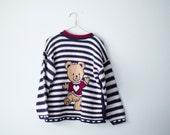 Vintage 90s Striped Knit Bear Sweater