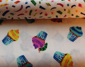 The Very Hungry Caterpillar Happy Birthday Cupcakes Fabric by Eric Carle for Andover Fabrics - 1 yard