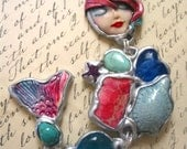 Artistic MERMAID necklace Handmade Turtle MOON face Pendant One of a Kind Art-to-Wear Natural Stone Wellness Energy Goddess of the sea