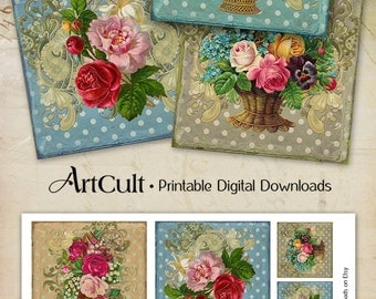 3.8x3.8 inch Images VICTORIAN SHABBY CHIC Roses Digital Collage Sheet Printable download for coasters greeting cards and tags Art Cult