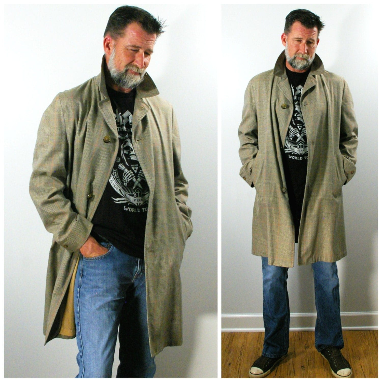 Vintage Mens Coat 60s Mens Plaid Trench Coat Plaid Grey