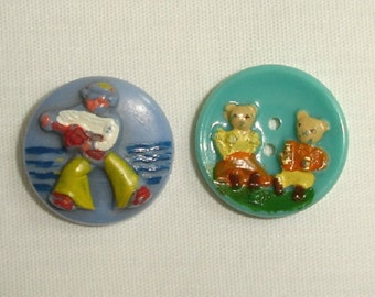 Vintage French Kiddie Buttons - cute collectible Childrens Plastic Buttons
