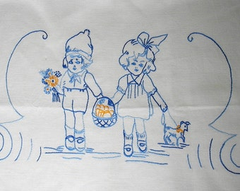 Vintage hand embroidered Kitchen Towel Cover - nice White Linen with mostly Blue embroidery - Dutch Boy and Girl with their Dog