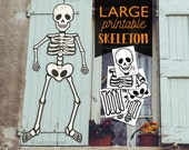 Large Multi Page Printable Skeleton halloween Door or window decor Cute friendly skeleton DIY Classroom halloween door decoration printable