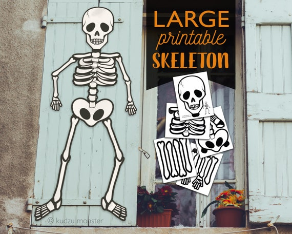 Large Multi Page Printable Skeleton halloween Door or window