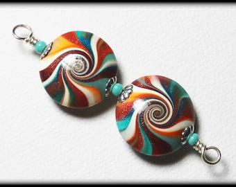Southwest...Handmade Polymer Clay Beads Bead Set Earring Pair Turquoise Terra Cotta Orange Aqua Silver Lentil Lentils Swirl Spiral Bead Caps