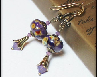 Royal Amethyst... Handmade Jewelry Earrings Beaded Lampwork Glass Crystal Purple Lavender Plum Amber Caramel Antique Hammered Copper Boho