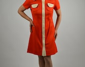 60's Red Dress Button Down Dress with Beige Trim and has Two Breaast Pockets Could be Used for a Gogo Dress  Size Medium