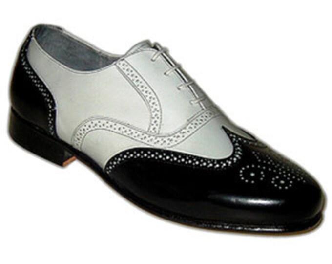 Aris Allen Men's Spats Shoes, 20's Mens Shoes, Wing Tip Shoes, Mens Dance Shoes, Spectator Shoes, Two Toned Shoes, Size 9.5