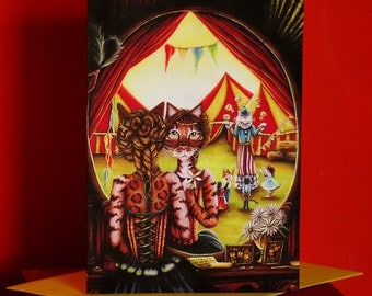 Circus Cats 5x7 Blank Greeting Card, Big Top Tent Entertainers