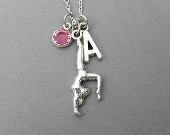 Gymnast Necklace - Yoga, Gymnastics, Personalized Initial Name, Customized birthstone