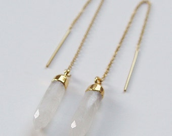 SALE Moonstone Point Gold Earrings OOAK