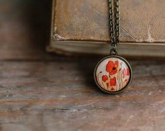 Red Poppy necklace - Red flower jewelry - Red necklace - Red poppies pendant - Floral necklace - Red flower pendant - Art Necklace (N110)