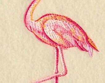 Embroidered Flamingo Towel - Flamingo in Watercolor  - Flour Sack Towel - Hand Towel - Bath Towel - Apron