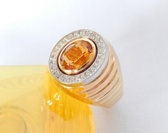 vintage Joseph Esposito ring, size 10, 14KT GP, citrine and crystals, vintage ring, vintage jewelry