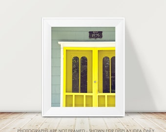 Neon Yellow Door Photography, Architecture, Bright Colorful Pop Photograph, Architectural, Geometric Modern, Martha's Vineyard Picture