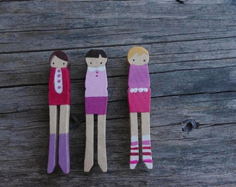 handmade wooden folk art mini clothespins brooches  ... sweet love