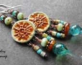 Boho Gypsy Tribal Ceramic and Glass Earings, Blue Green Swirly Glass  Czech Glass Amber Swingy Earrings