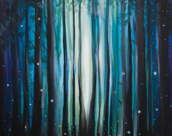 Fireflies in the Woods - Landscape Canvas Print Giclee Gallery Wrap