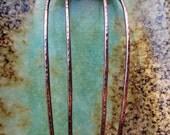 "Copper Hair Comb, 4.5"" length, antiqued copper hair accessory, fantasy, hair jewelry, hair stick, hair fork"