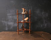 Wood Display Shelf Corner Table Top Bohemian Decor Curio Shelf Three Tier Spindle Vintage From Nowvintage on Etsy
