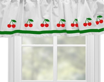 Cherry (Cherries)  or Apple or Strawberry - Window Valance Curtain - Your Choice of Colors