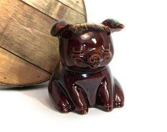 "Drip Glaze Piggy Bank, Hull USA 196 Money Bank, Brown Ceramic Bank, Original Cork Stopper, 6"" High, Smiling Pig, Hull Collectible Bank"