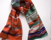Rusty Striped Silk scarf/ Hand painted scarf/ Woman accessory/ Abstract scarf/ Burnt orange, olive and purple geometric scarf.