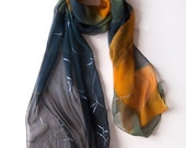 Graphite silk chiffon scarf with silver leaves/ Hand painted scarf/ Dark silk scarf/ Mustard gray scarf handpainted/ Long transparent scarf