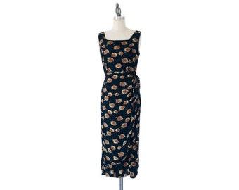 Vintage 1990s Black Floral Sunflower Sleeveless Faux Wrap Midi Dress - S