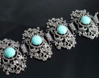 Victorian Revival Bracelet, Peking Glass, Vintage 1970, Wide Sculpted Metal, Vintage Jewelry Link Style Bracelet
