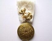 Bee and Flower Floral Locket bouquet pin boutinnere corsage ivory bride wedding bridal keepsake