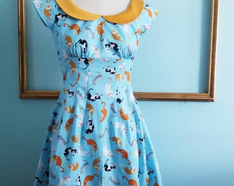 cat print dress - multicolored  cat dress with peter pan collar - retro clothing - womens dress - rockabilly dress