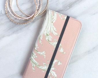 Womens Wallet Phone Case Pink Flourish, iPhone 6S Plus Blush Faux Leather