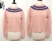 20% off preppy Pink Wool Fair Isle Sweater 70s Nordic Winter Pullover Top Jumper Ski Sports Small Pull .