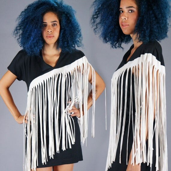 80s Fringe Body Con Dress Vintage Avant Garde Mini Dress