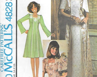 McCalls 4828 UNCUT 1970s Panel Front Dress or Top with Flared Sleeves Vintage Sewing Pattern Size 14 Bust 36 Boho