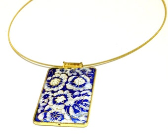 SALE  Cloisonné Blue, White Flower with Gold Lining and Neck Wire Necklace / Pendant necklace /