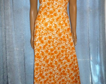 "Don't Eat The DAISIES - Vintage 70's - Orange Sherbet - DAISY - Floral - Silky Soft - Maxi - Boho - Hippie - Dress - 37"" chest"