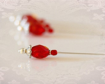 Set of Four Ruby Red Hat Pins.  Beaded Stickpins. Corsage Pins. Crafting Supply. Scrapbooking Embellishment.