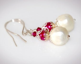Hot Pink & White Pearl Dangle Earrings. Upcycled - Repurposed with Vintage Beads
