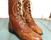 Tooled Leather Ropers- 90s Granny Boots in Light Brown / Tan- 1990s Western Boots- Size 6