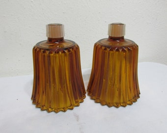 Glass Votive Cups Candle Holders Set of 2 Amber
