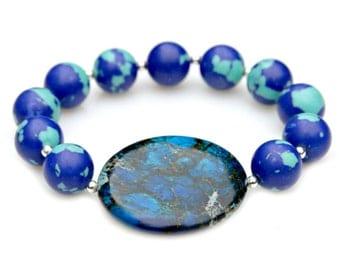 SUMMER SALE Ocean Blue Jasper Bracelet Azurite Malachite Blue Green Silver STATEMENT Chunky Beaded Bracelet High Fashion Celebrity Style
