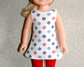 "Top -Leggings for 14"" Wellie Wishers or Melissa & Doug Doll Clothes Star/Red tkct924"