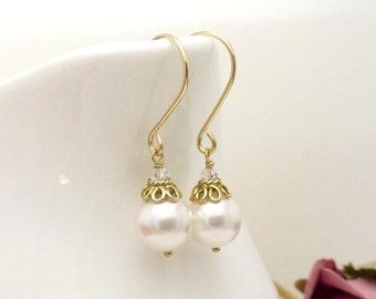 Gold crystal and white pearl earrings, 14kt gold filled pearl drop earrings, wedding bridal jewelry
