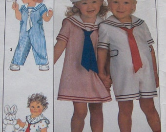 vintage 80s simplicity pattern 9074 toddlers overalls in 2 lengths, dress and hat boy girl sz 1 sailor look