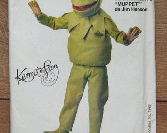 vintage 80s Vogue pattern 8476 Kermit the Frog costume pattern Muppets uncut sz S(2-4) M(6-8) L(10-12) children boy girl
