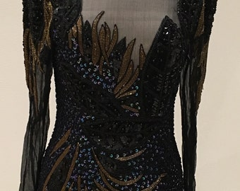 Sexy Beaded Cocktail Dress - Black Gold Iridescent Sequins Beads - Short Formal - Mini - Sexy Keyhole Back - 1980s 1990s Vintage - 34 Bust
